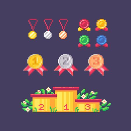 Pixel art winner set. Medals different forms and sizes and winners podium. Vector illustration. Stock Illustratie