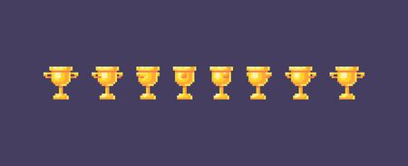 Pixel art winner cups symbol animation. Vector illustration.  イラスト・ベクター素材