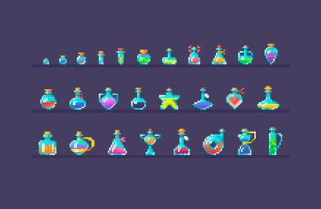 Pixel art set of glass bottles different forms and sizes. Magic potions icons on isolated color. Vector illustration. Illustration