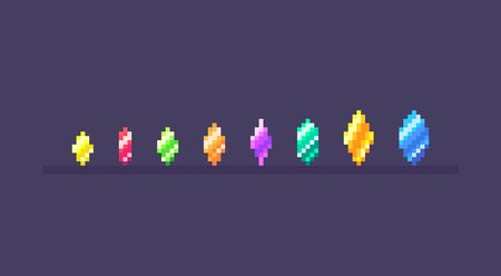 Pixel art set of magic crystals different sizes. Gems icons on isolated color. Vector illustration.