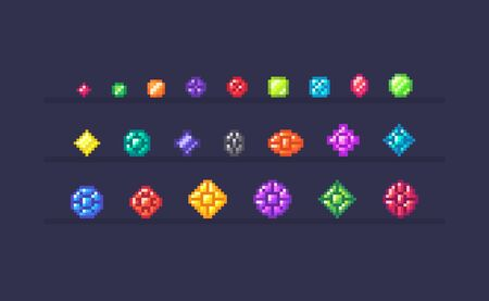 Pixel art set of magic crystals different forms and sizes. Gems icons on isolated color. Vector illustration.