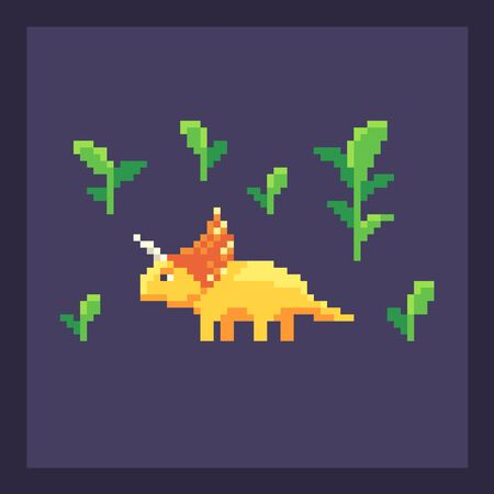 Pixel art dinosaur in nature. Cute pixelated dino icon. Vector illustration.