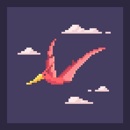 Pixel art dinosaur in nature. Cute pixelated dino icon. Vector illustration.