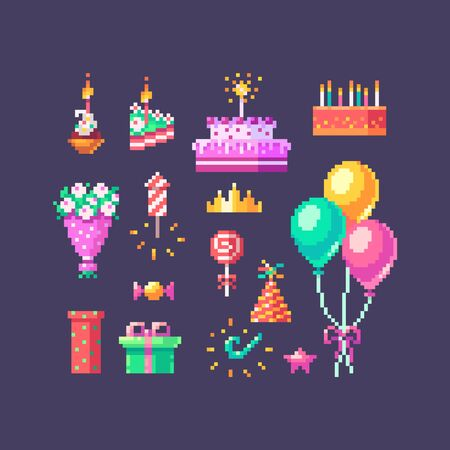 Pixel art birthday set. Cute bright icons on birthday party. Vector illustration.