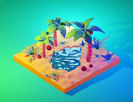 Tropical island with palm trees and sea in low poly style. Isometric view. 3D render.