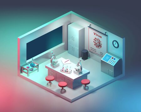Interior of modern white laboratory in miniature. Science concept. Isometric view. 3D render.