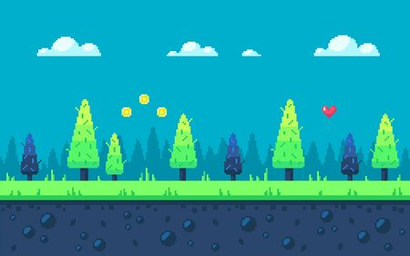 Cute meadow area with fir-trees and clouds. Pixel art game location. Seamless vector background.