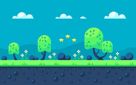 Cute meadow area with forest and clouds. Pixel art game location. Seamless vector background.