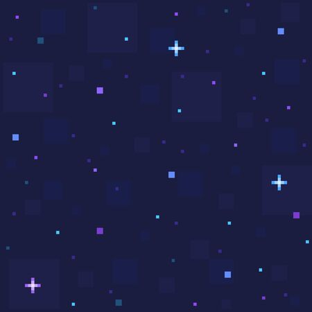 Pixel art star sky at night. Starry sky seamless backdrop. Vector illustration. Stock Photo