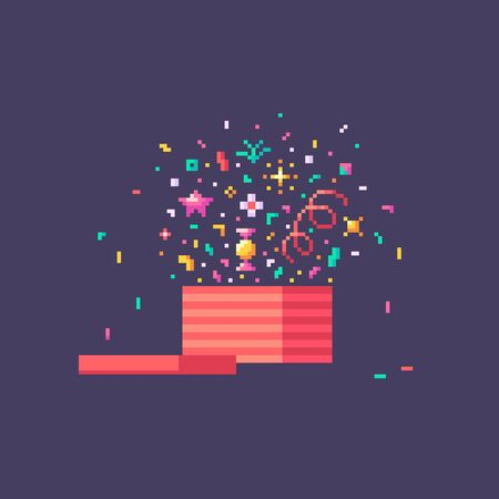 Pixel art open gift box. Surprise concept icon. Vector illustration.