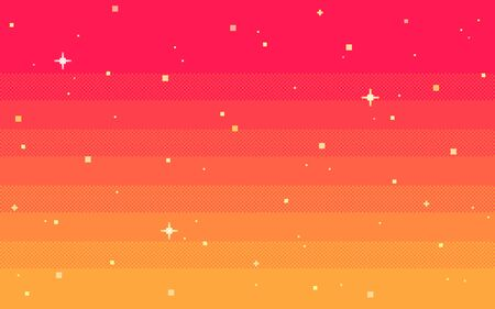 Pixel art star sky at dawn time. Starry sky seamless backdrop.Vector illustration. Stok Fotoğraf