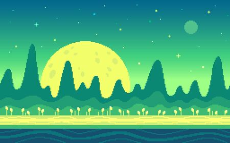 Mountains area on alien planet. Pixel art game location. Seamless vector background. Illustration