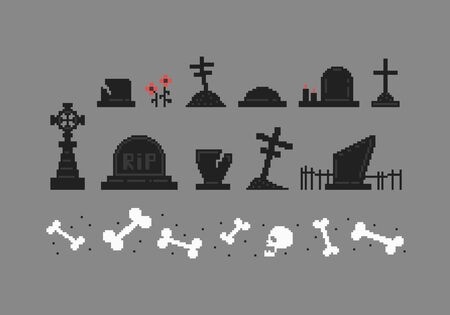 Pixel art set of tombstones different forms. Collection of gravestones. Vector illustration. Çizim