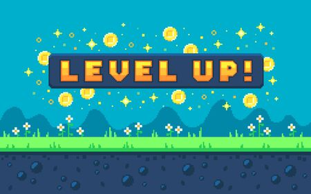 Pixel art design with outdoor landscape background. Colorful pixel arcade screen for game design. Banner with button level up. Game design concept in retro style. Vector illustration. Vecteurs