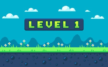 Pixel art design with outdoor landscape background. Colorful pixel arcade screen for game design. Banner with button level 1. Game design concept in retro style. Vector illustration.