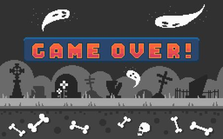 Pixel arcade banner with button game over for game design. Pixel art arcade screen with cemetery landscape background. Vector illustration.