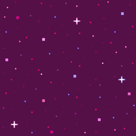 Pixel art star sky at night. Starry sky seamless backdrop. Vector illustration. Çizim