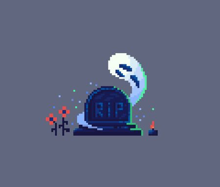 Pixel art tombstone and ghost. Old gravestone item for game design. Vector illustration. Illustration