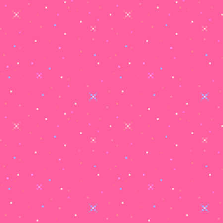 Pixel art cute feminine seamless pattern. Shining sparkles and stars on a pink background. Vector illustration.