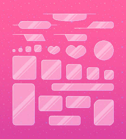 Pixel art game interface. Set of cute glass borders for girls. Vector illustration