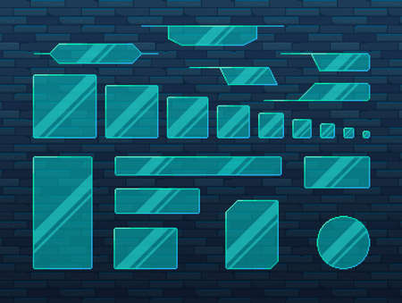 Pixel art game UI set. Set of glass boarders in futuristic style. Vector illustration.