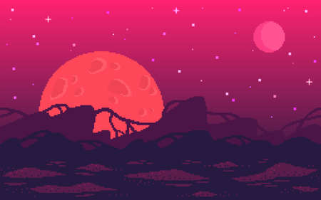 Pixel art game location. Alien red planet with strange plants. Seamless vector background.