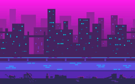 Pixel art playground. Metropolis with skyscrapers in the evening. A large city with a place to move your character. Seamless vector background