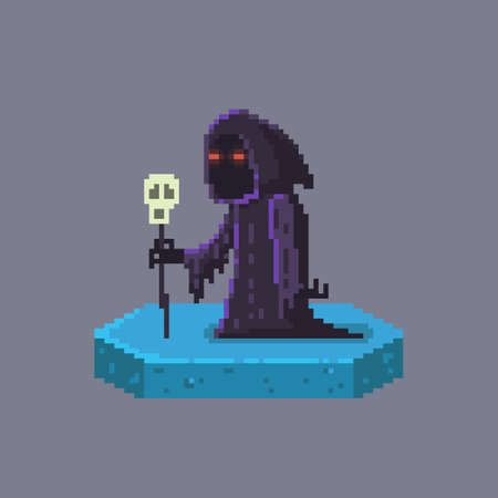 Pixel art death character. Fairytale personage. Cute vector illustration.