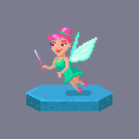 Pixel art flying fairy character. Fairytale personage. Cute vector illustration. Çizim