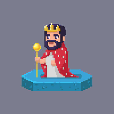 Pixel art king character. Fairytale personage. Cute vector illustration.