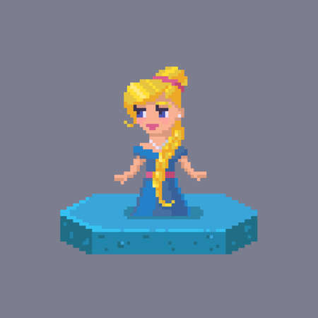 Pixel art princess character. Fairytale personage. Cute vector illustration. Çizim