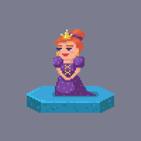 Pixel art queen character. Fairytale personage. Cute vector illustration.