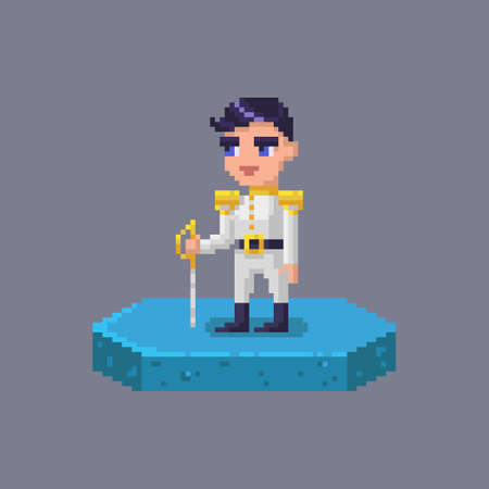 Pixel art prince character. Fairytale personage. Cute vector illustration. 向量圖像
