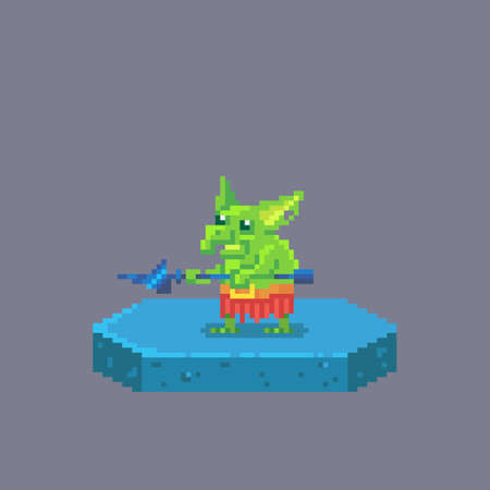 Pixel art goblin character. Fairytale personage. Cute vector illustration.