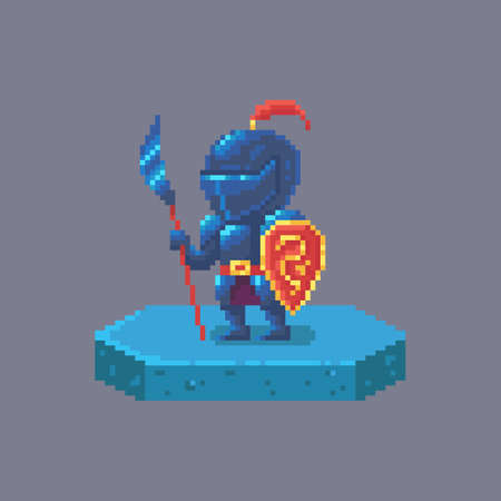 Pixel art knight or warrior character. Fairytale personage. Cute vector illustration.