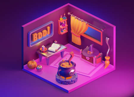 Halloween cartoon isometric witch house, cute interior in cartoon style. Pumpkin, cauldron, hat, potions and more. 3D render illustration. Stock Photo