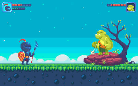 Pixel art UI design with outdoor landscape background. Colorful pixel arcade screen for game design. Game location with two characters. Game design concept in retro style. Vector illustration.