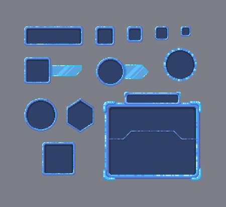 Pixel art game UI set. Set of boarders in futuristic style. Vector illustration.