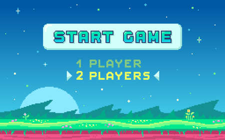 Pixel art UI design with outdoor landscape background. Colorful pixel arcade screen for game design. Banner with button