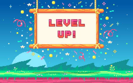 Pixel art UI design with outdoor landscape background. Colorful pixel arcade screen for game design. Banner with phrase