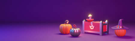 Halloween web banner with pumpkins and chest. Beautiful header, with empty space for text. 3D render illustration.
