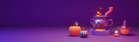 Halloween web banner with pumpkins and witch cauldron. Beautiful header, with empty space for text. 3D render illustration.