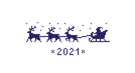 Pixel art santa on sleigh with deers. Christmas symbol 2021 isolated on white background. Vector illustration. Illustration