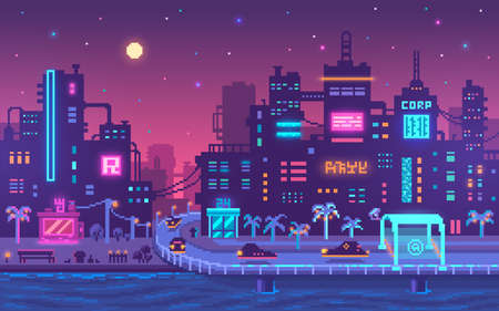 Pixel art cyberpunk metropolis background. Grunge buildings in the future in neon colors. Sci-fi concept. Vector illustration.
