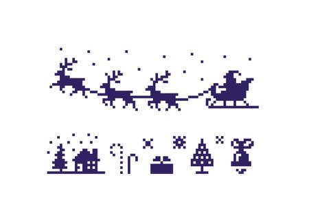 Pixel art Christmas icon set. Christmas symbols isolated on white background. Vector illustration.