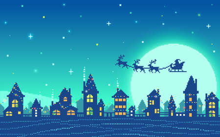 Pixel art snowy city at Christmas eve. Christmas houses in front of the moon with Santa's sleigh silhouette. Vector illustration.