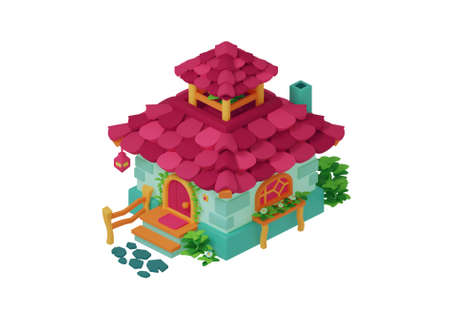 Cute game casual house. Beautiful fairy little house isolated on white background. 3D render illustration.