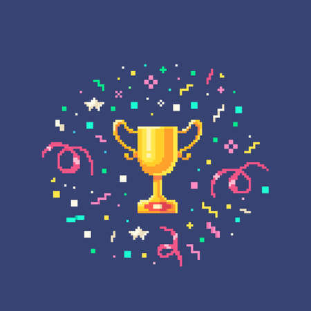 Pixel art set gold winner cup with confetti burst. Vector illustration.