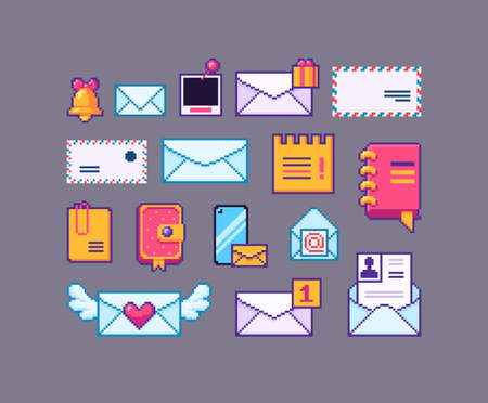 Pixel art set of mail icons. Letters different forms and sizes. Vector illustration. Illustration