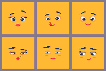 Pixel art emoji faces set. Funny emoticons on yellow background. Vector illustration.